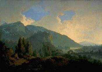 Joseph Wright Of Derby : An Italian Landscape with Mountains and a River